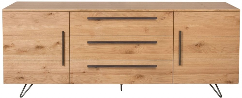 Calgary Rustic Oak and Metal 2 Door 3 Drawer Sideboard