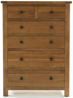 Camellia Oak Chest of Drawer - 2 Over 4 Drawer Jumbo