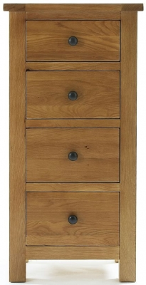 Camellia Oak Chest of Drawer - 4 Drawer Narrow