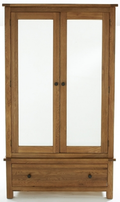 Camellia Oak Wardrobe - Large 2 Door Mirrored