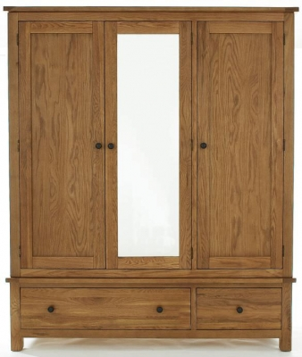 Camellia Oak Wardrobe - Large 3 Door Mirrored