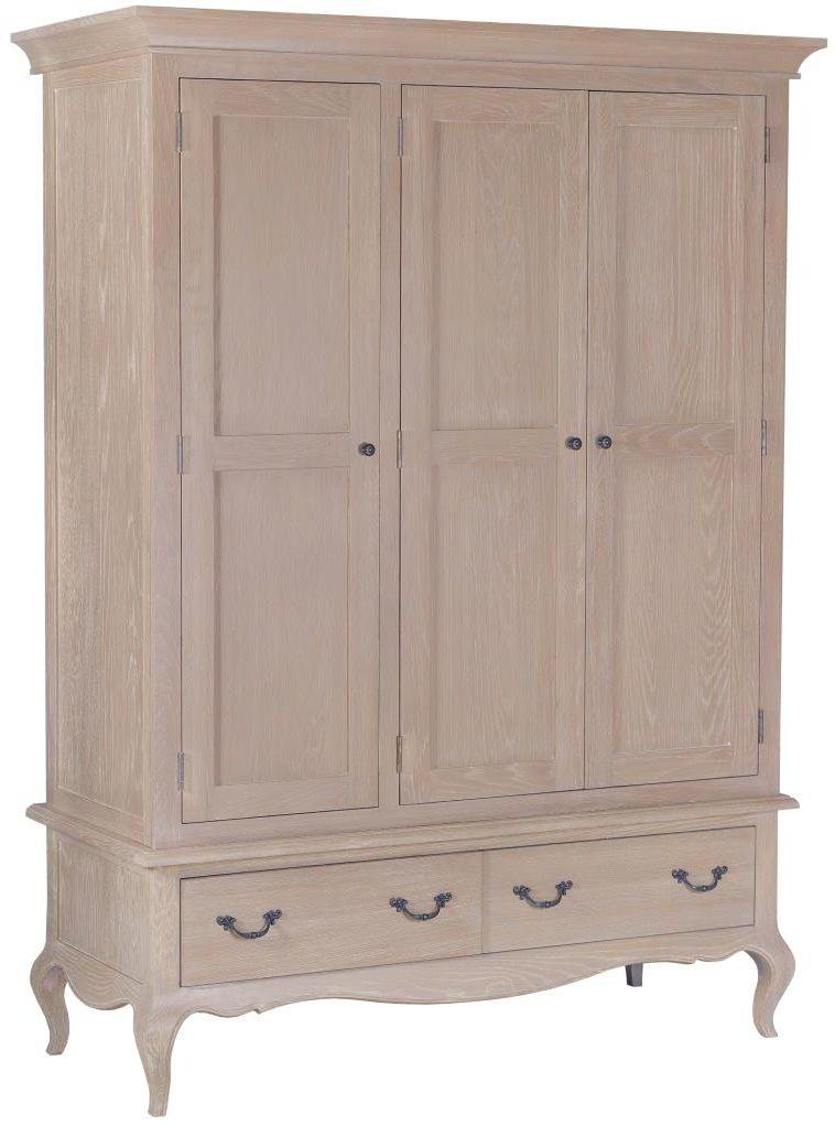 Camille Weathered Oak 3 Door 2 Drawer Wardrobe