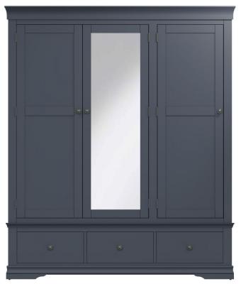 Chantilly Midnight Grey Painted 3 Door 3 Drawer Wardrobe