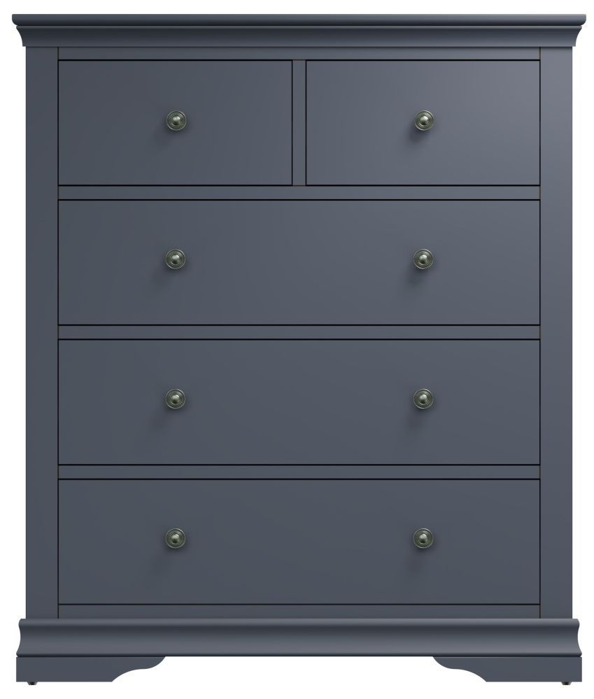 Chantilly Midnight Grey Painted 2+3 Drawer Chest