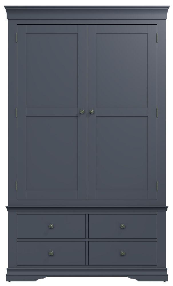 Chantilly Midnight Grey Painted 2 Door 4 Drawer Wardrobe