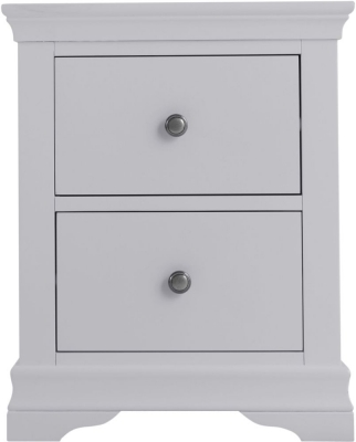 Chantilly Moonlight Grey Painted 2 Drawer Large Bedside Cabinet