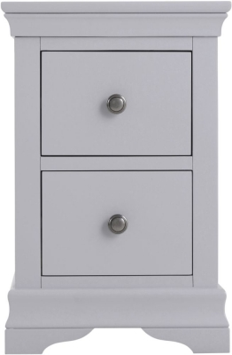 Chantilly Moonlight Grey Painted 2 Drawer Bedside Cabinet