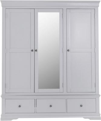 Chantilly Moonlight Grey Painted 3 Door 3 Drawer Wardrobe
