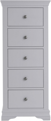 Chantilly Moonlight Grey Painted 5 Drawer Tall Chest
