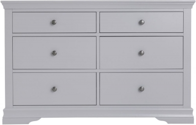 Chantilly Moonlight Grey Painted 6 Drawer Chest