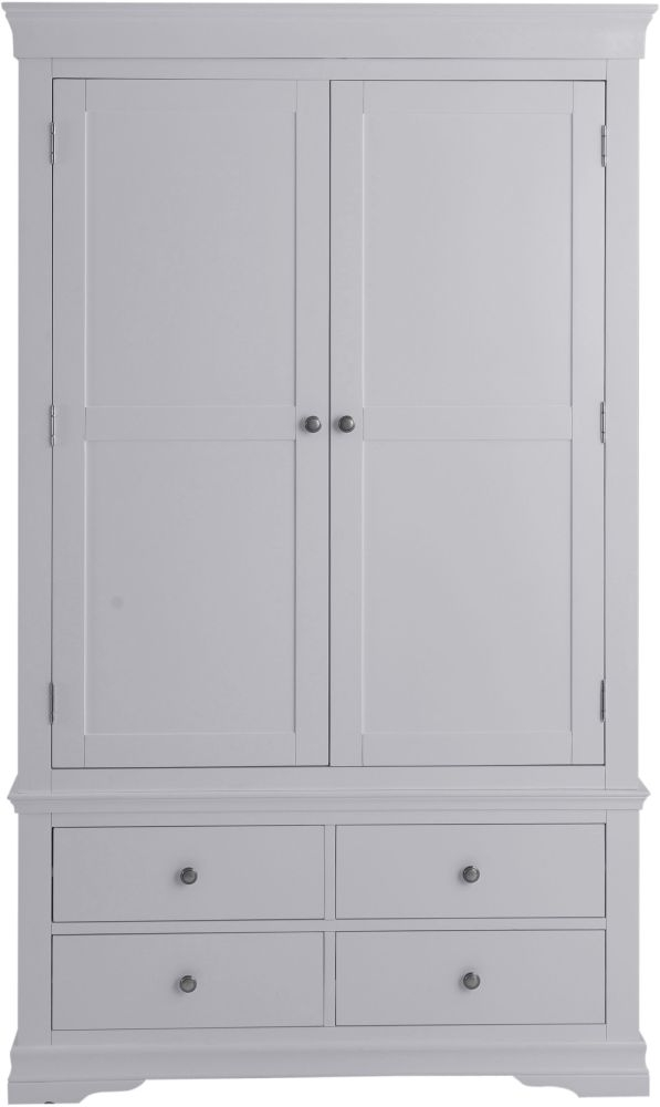Chantilly Moonlight Grey Painted 2 Door 4 Drawer Wardrobe