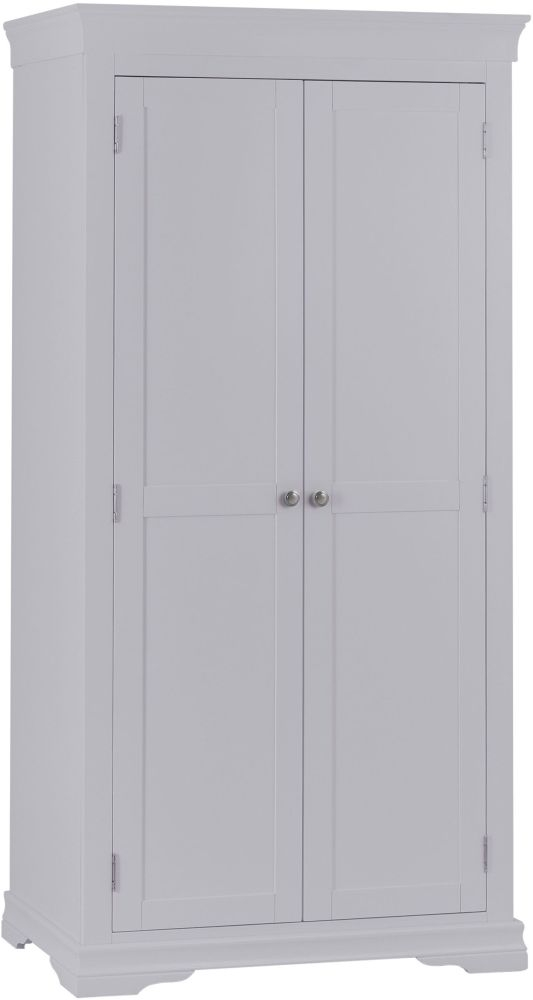 Chantilly Moonlight Grey Painted 2 Door Wardrobe