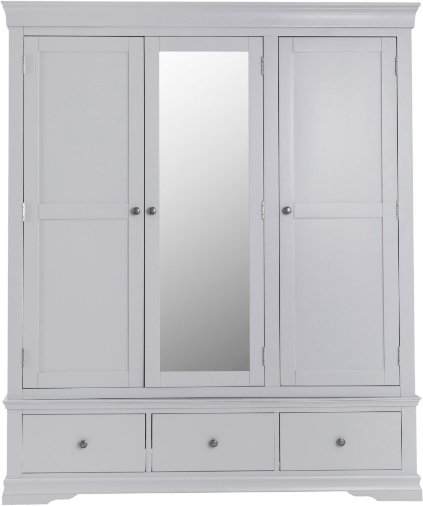 Chantilly Moonlight Grey Painted 3 Door 3 Drawer Wardrobe