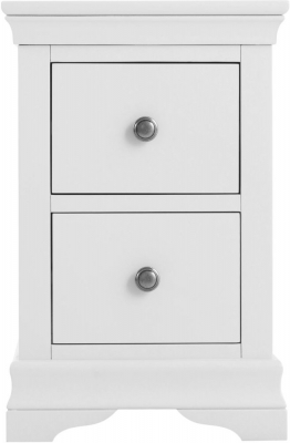 Chantilly White Painted 2 Drawer Bedside Cabinet