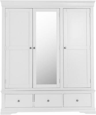 Chantilly White Painted 3 Door 3 Drawer Wardrobe