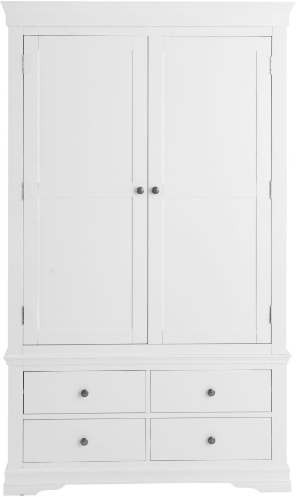 Chantilly White Painted 2 Door 4 Drawer Wardrobe