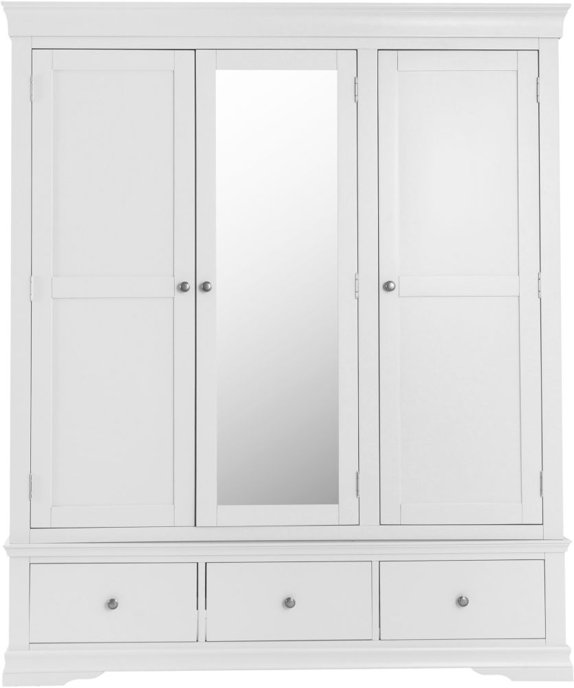 Chantilly White Painted 3 Door 3 Drawer Wardrobe