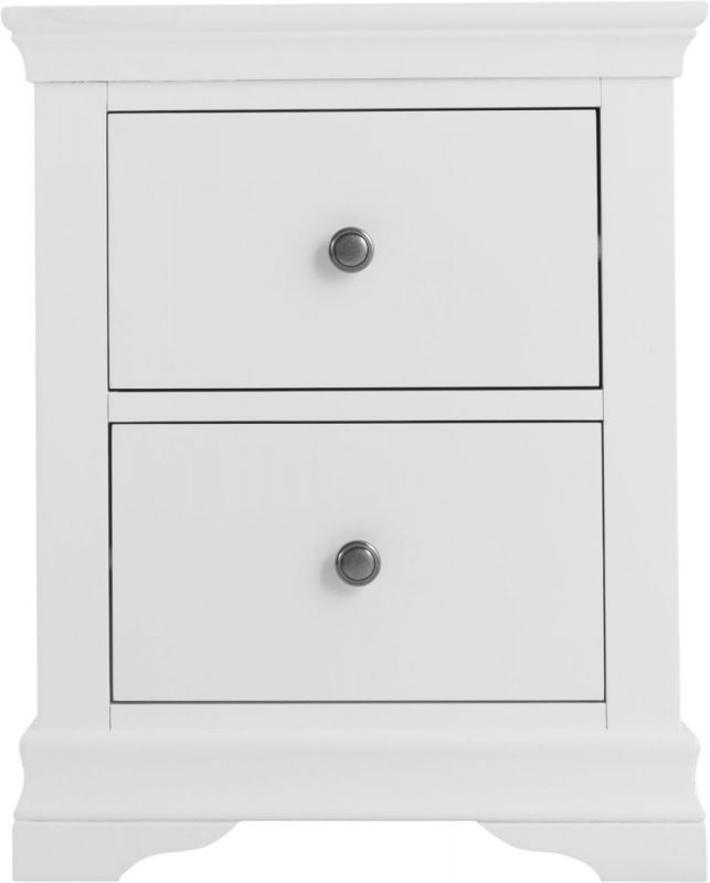 Chantilly White Painted 2 Drawer Large Bedside Cabinet