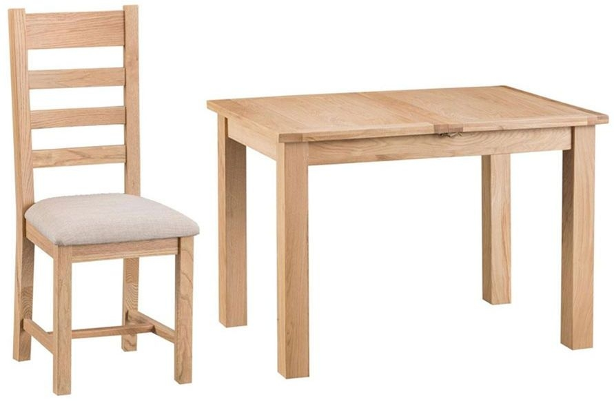 Cheshire Natural Oak Dining Set - 115cm Butterfly Extending with 4 Ladder Back Fabric Seat Chairs