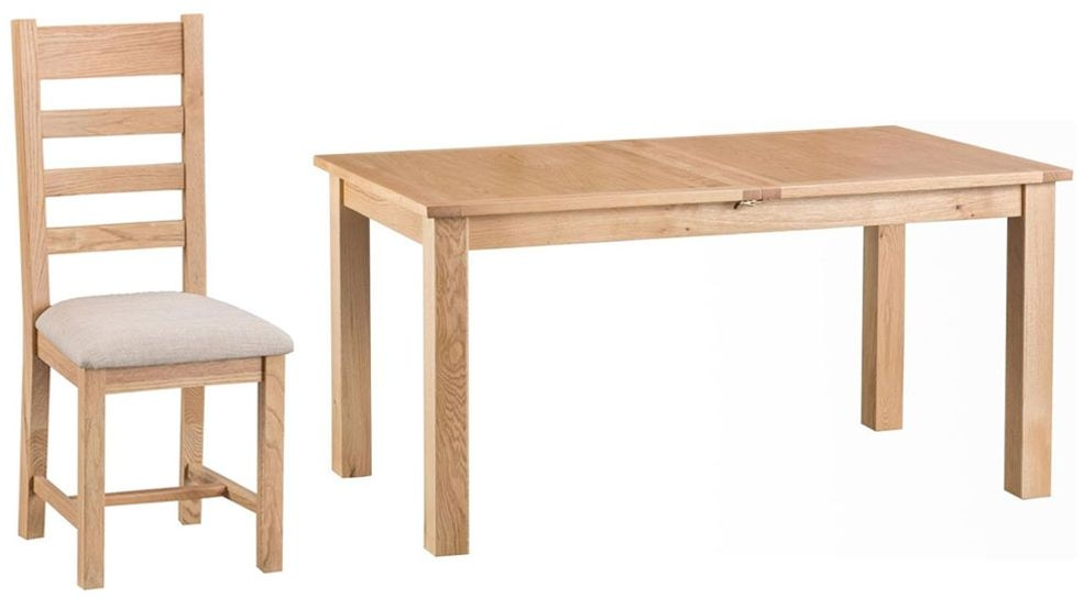 Cheshire Natural Oak Dining Set - 160cm Butterfly Extending with 4 Ladder Back Fabric Seat Chairs