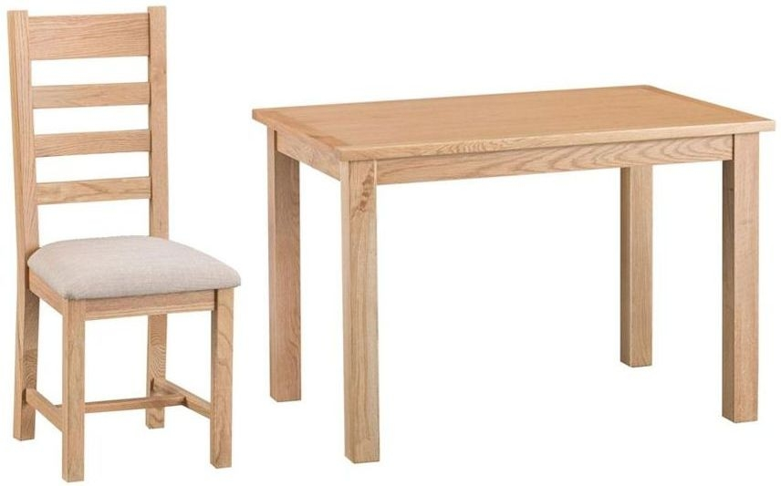 Cheshire Natural Oak Dining Set - Large Fixed Top with 4 Ladder Back Fabric Seat Chairs
