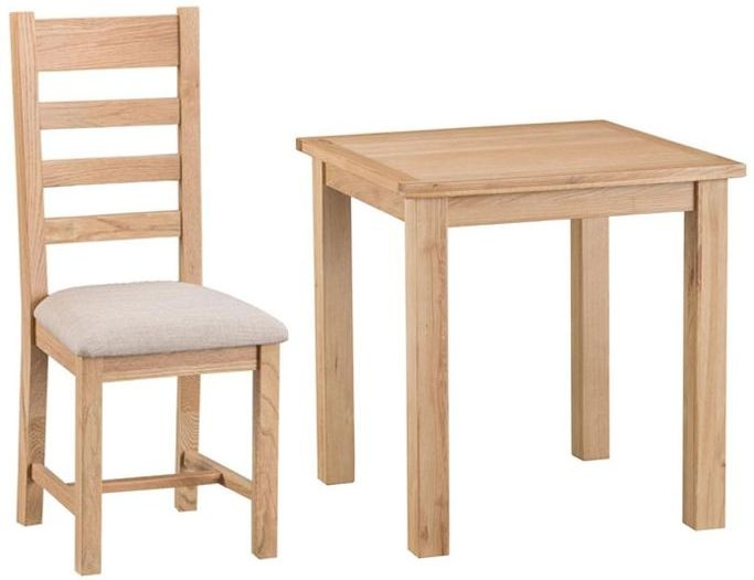 Cheshire Natural Oak Dining Set - Small Fixed Top with 2 Ladder Back Fabric Seat Chairs