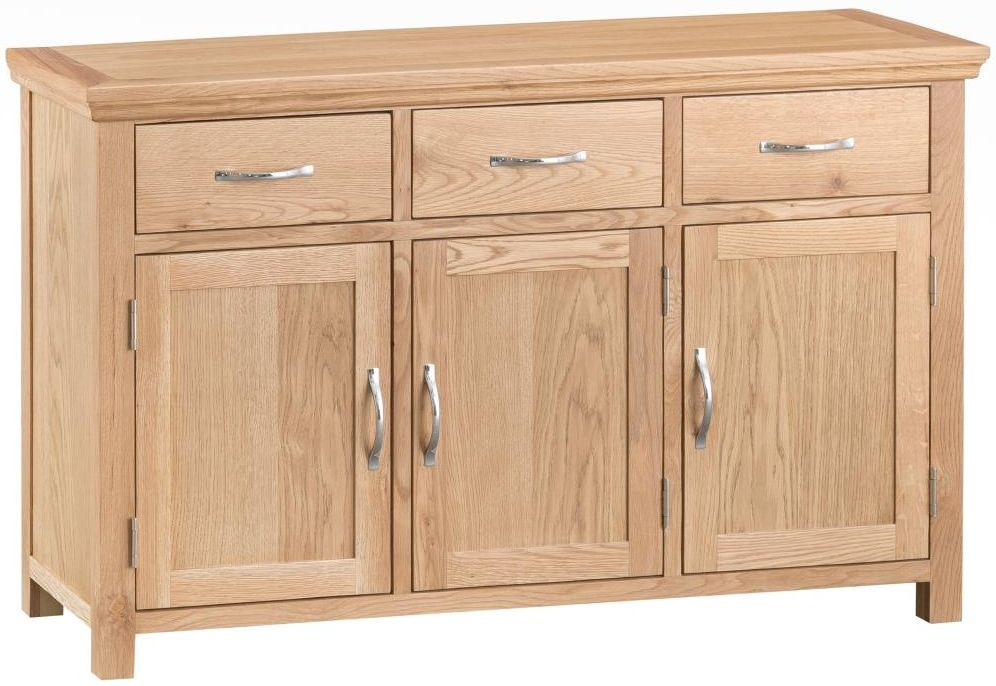 Cheshire Natural Oak 3 Door Wide Sideboard