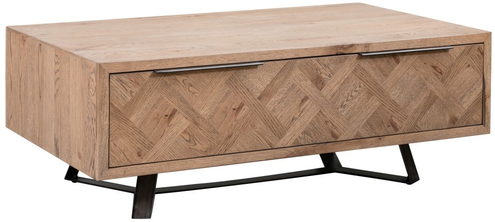 Chevron Oak and Metal 1 Drawer Coffee Table