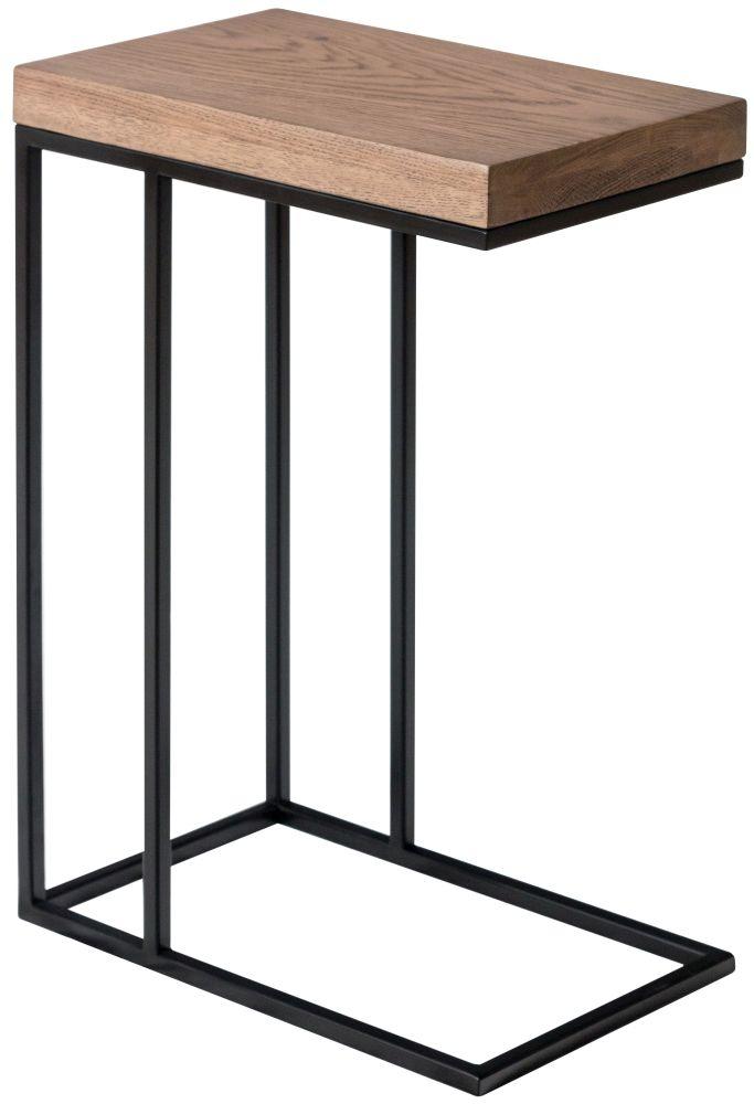 Chevron Oak and Metal Sofa Table