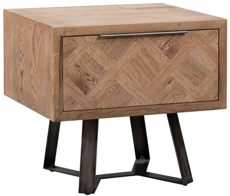 Chevron Oak and Metal 1 Drawer Lamp Table