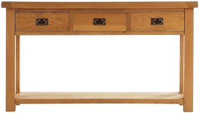 Chichester Cottage Style Rustic Oak Console Table - Large