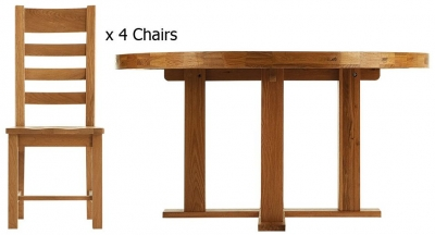 Chichester Rustic Dining Table - 1.5m Round with 4 Ladder Back Wooden Seat Chairs