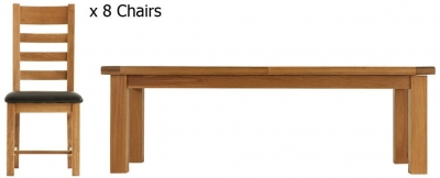 Chichester Cottage Style Rustic Oak Dining Table - 2.4m Extending Metal Runner with 8 Ladder Back PU Seat Chairs