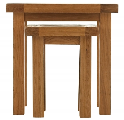 Chichester Cottage Style Rustic Oak Nest of 2 Tables