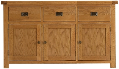 Chichester Cottage Style Rustic Oak Sideboard - 3 Door