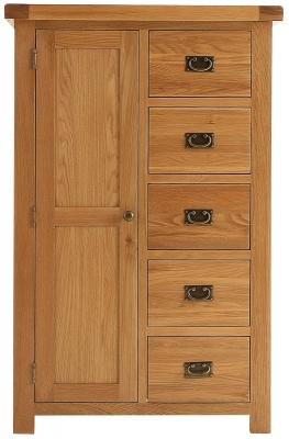 Chichester Cottage Style Rustic Oak Wardrobe - Combi