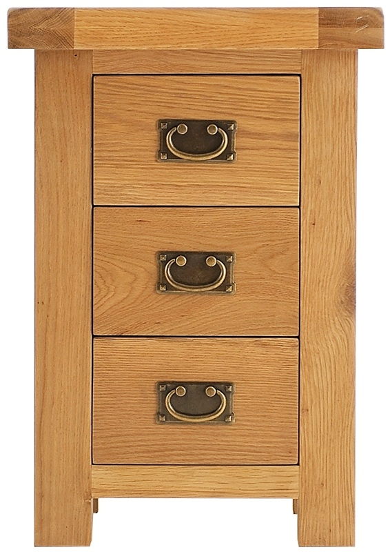 Chichester Cottage Style Rustic Oak 3 Drawer Small Bedside Cabinet