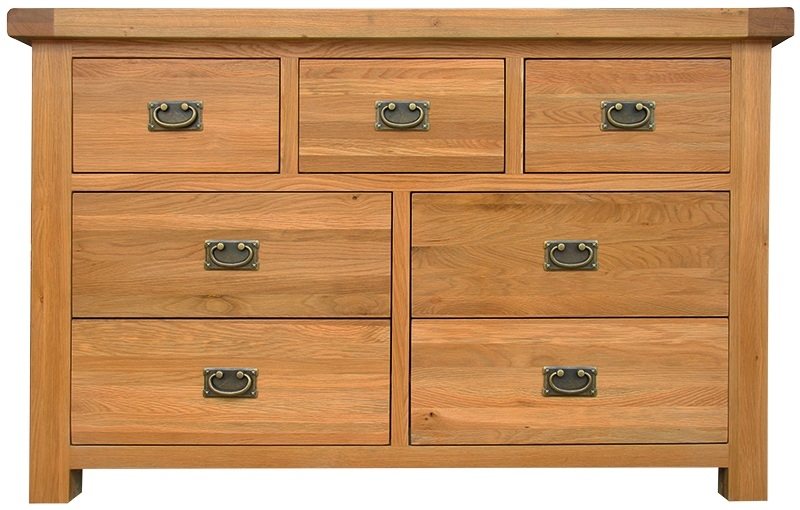 Chichester Cottage Style Rustic Oak 3 Over 4 Drawer Chest