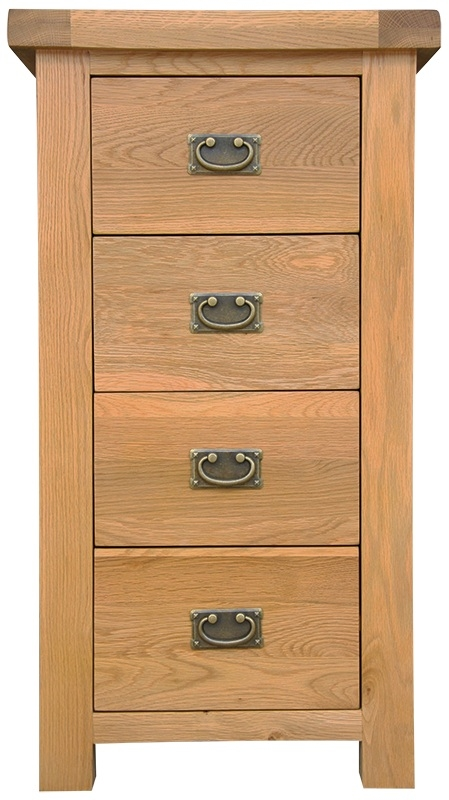 Chichester Cottage Style Rustic Oak 4 Drawer Narrow Chest