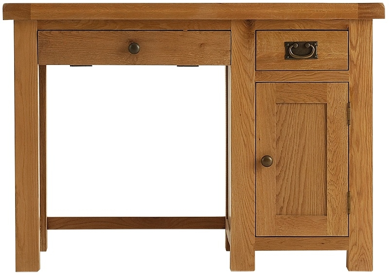 Chichester Cottage Style Rustic Oak Computer Desk - Single