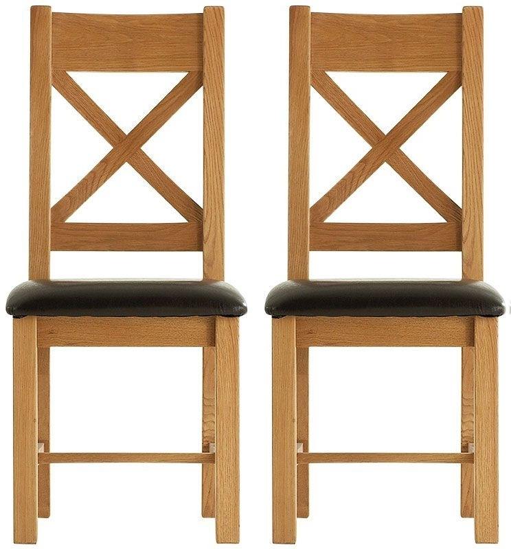 Chichester Cottage Style Rustic Oak Dining Chair - Cross Back PU Seat (Pair)