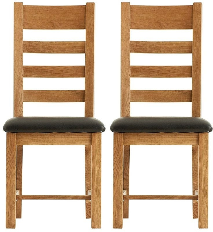 Chichester Cottage Style Rustic Oak Dining Chair - Ladder Back PU Seat (Pair)