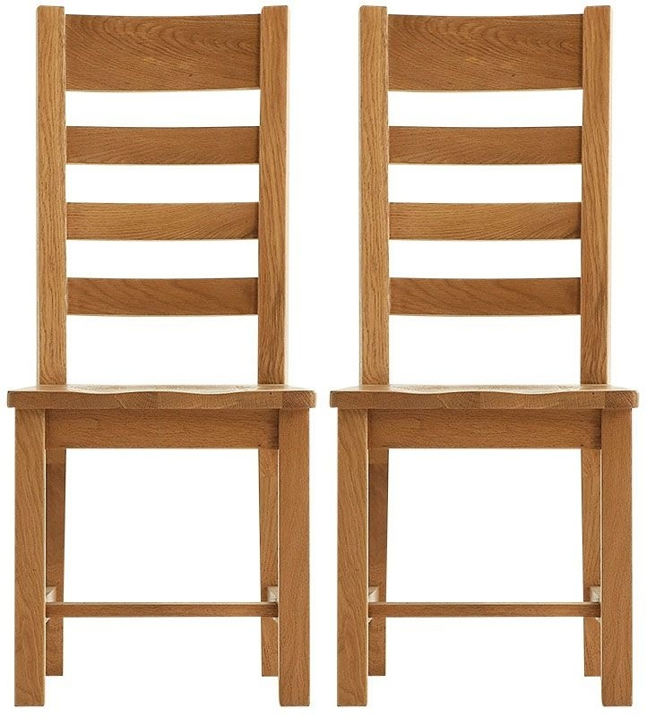 Chichester Rustic Dining Chair - Ladder Back Wooden Seat (Pair)