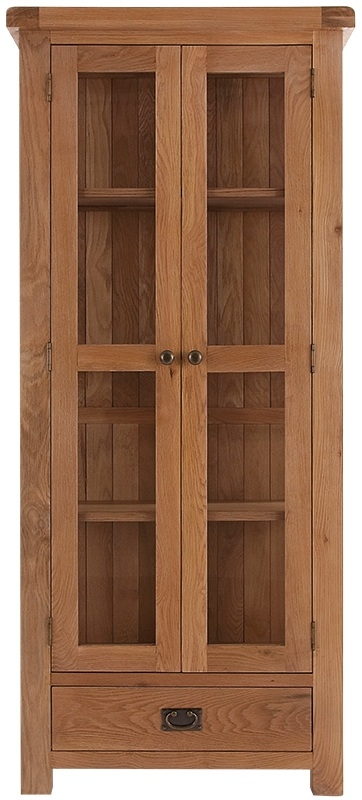 Chichester Cottage Style Rustic Oak Display Cabinet with Glass Doors