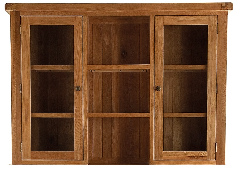 Chichester Cottage Style Rustic Oak Dresser Top - Large with Glass Doors
