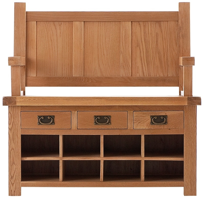 Chichester Cottage Style Rustic Oak Monks Bench