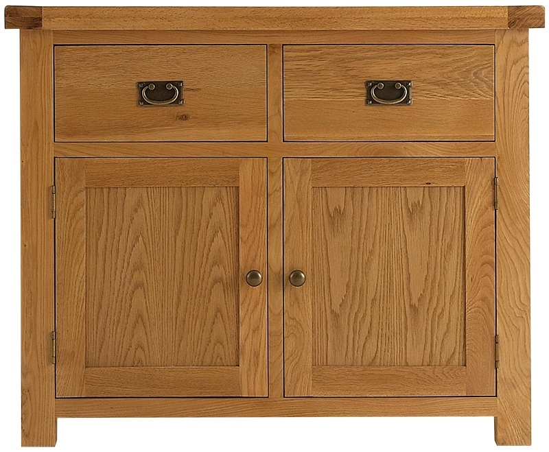 Chichester Cottage Style Rustic Oak 2 Door 2 Drawer Narrow Sideboard