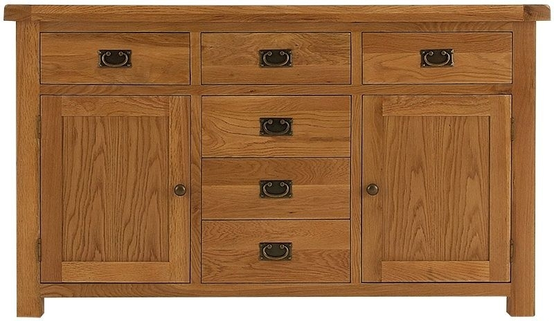 Chichester Cottage Style Rustic Oak Sideboard - 2 Door 6 Drawer