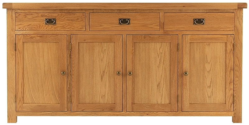 Chichester Cottage Style Rustic Oak 4 Door Wide Sideboard