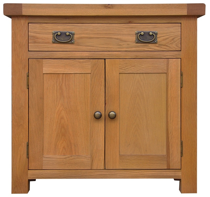 Chichester Cottage Style Rustic Oak 2 Door 1 Drawer Narrow Sideboard
